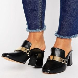 ASOS Stapled Heeled Mules Black Gold Buckle Size 5